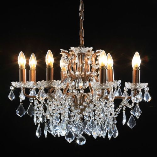 Antique French Cut Glass Gold Chandelier 8 arms
